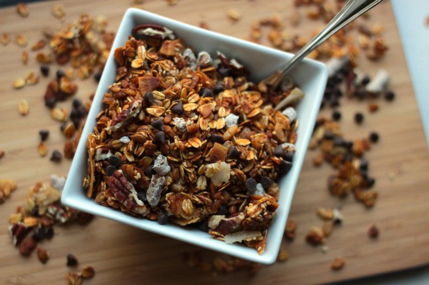 chocolate maple granola overhead